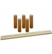 Набор для игры в городки состоит из 5  деревянных столбиков и двух бит