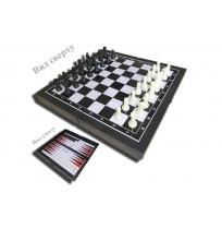 Игра 3 в 1 (шашки, шахматы, нарды) пластик 7718