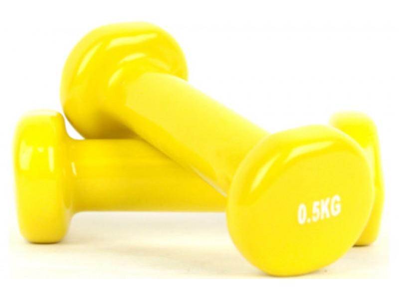 Гантели виниловые 0,5 кг x 2, ARTBELL (желтый) DB19-0,5