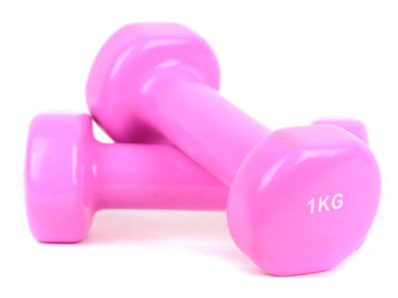 Гантели виниловые 1 кг x 2, FORA (розовый)