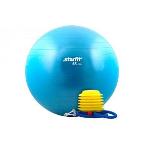 Мяч гимнастический с насосом StarFit, синий, антивзрыв, 65 см GB-102-65-BL