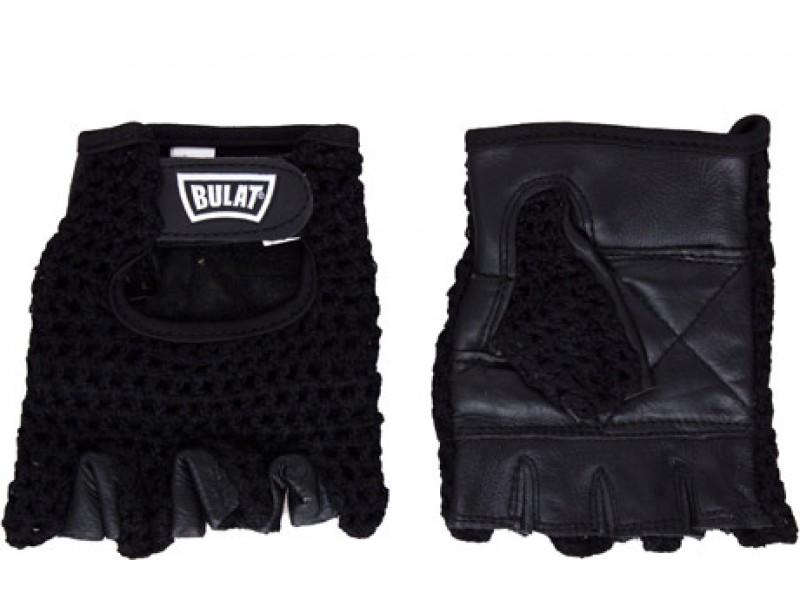 Перчатки для зала BULAT черный с серым (кожа+полиэстер) арт.WLG-073